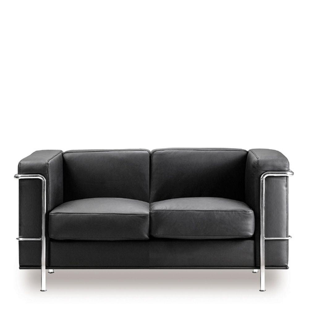 Belmont Cubed Leather Faced Reception Two Seat Sofa in Black